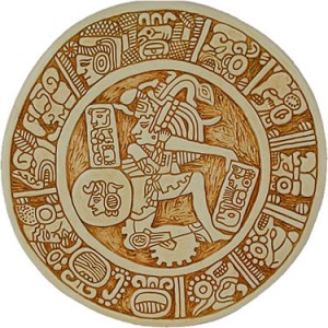 Reproduction of Mayan art from Palenque, Mexico 590 A.D. Surrounded by hieroglyphs, an ancient ball player demonstrates his skill and strength. The player's ability to manipulate and move the ball into stone rings, without the use of hands, was played to honor the gods with skill -- just like we think of soccer today.